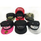 48 Units of Wholesale Snap Back Flat Bill Chicago Block Letter Assorted Color - Hats With Sayings
