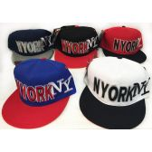 48 Units of Wholesale Snap Back Flat Bill NY New York Assorted Color - Hats With Sayings