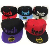 48 Units of Wholesale Snap Back Flat Bill Fresh Assorted Colors Hats - Hats With Sayings