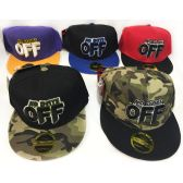48 Units of Wholesale Snap Back Flat Bill No Days Off Assorted Colors - Hats With Sayings