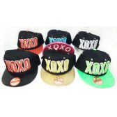 48 Units of Wholesale Snap Back Flat Bill XOXO Assorted Color Hats - Hats With Sayings