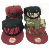 48 Units of Wholesale Snap Back Flat Bill Block Letter Alabama Assorted Color - Hats With Sayings