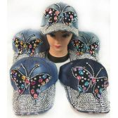 48 Units of Wholesale Strapback Denim Hat with Large Butterfly Rhinestone