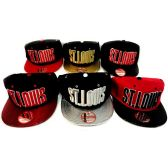 48 Units of Wholesale Snap Back Flat Bill Block Letter St. Louis Assorted - Hats With Sayings