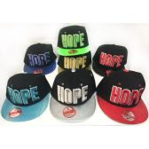 48 Units of Wholesale Snap Back Flat Bill Block Letter Hope Assorted Colors - Hats With Sayings