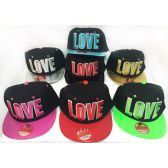 48 Units of Wholesale Snap Back Flat Bill Block Letter Love Assorted Colors - Hats With Sayings
