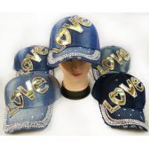 48 Units of Wholesale Strapback Denim Hat with Golden LOVE Rhinestone Hat - Hats With Sayings