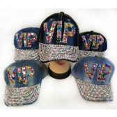 48 Units of Wholesale Strapback Denim Hat with Large VIP Rhinestone Hat - Hats With Sayings