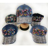 48 Units of Wholesale Strapback Denim Hat with Large BOSS Rhinestone Hat - Hats With Sayings