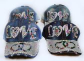 48 Units of Wholesale Strapback Denim Hat with Large STAR Rhinestone Hat - Hats With Sayings