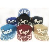 48 Units of Wholesale Snap Back Flat Bill Dope with Paisley Print Hat - Hats With Sayings