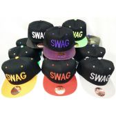 48 Units of Wholesale Snap Back Flat Bill Small Letter SWAG Hat Assorted - Hats With Sayings