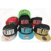 48 Units of Wholesale Snap Back Flat Bill Block Letter Atlanta Assorted Color - Hats With Sayings