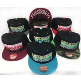 48 Units of Wholesale Snap Back Flat Bill Multi-Color Mississippi Assorted - Hats With Sayings
