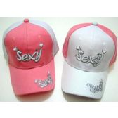 48 Units of Wholesale Adjustable Baseball Hat Sexy with Hearts Two Tone - Hats With Sayings
