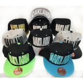 48 Units of Wholesale Snap Back Flat Bill Block Letter Oakland Assorted Color - Hats With Sayings