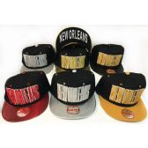 48 Units of Wholesale Snap Back Flat Bill New Orleans Assorted Color Hats - Hats With Sayings