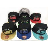 48 Units of Wholesale Snap Back Flat Bill Leave Me Alone Hat Assorted Color - Hats With Sayings