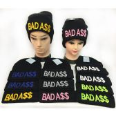 "36 Units of ""Bad A$$"" Winter Knitted Beanie Hat Toboggan Hats - Hats With Sayings"