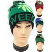 36 Units of Wholesale Winter Knitted Beanie Hat Weed Marijuana Leaf Pom Pom - Hats With Sayings