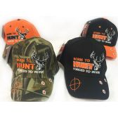 48 Units of Wholesale Adjustable Baseball Hat Born To Hunt Assorted Colors - Hats With Sayings