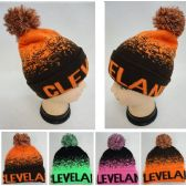 48 Units of Wholesale Knitted Pompom Cleveland Winter Beanie Hats - Winter Beanie Hats