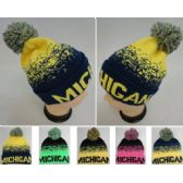 48 Units of Wholesale Knitted Pompom Michigan Winter Beanie Hats - Winter Beanie Hats