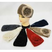 36 Units of Wholesale Knitted Headbands Flower with Mesh Lace - Headbands