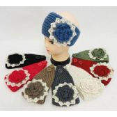36 Units of Wholesale Knitted Headbands Solid Color Flower with Crochet Lace - Headbands