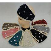 36 Units of Wholesale Knitted Headbands Crochet with Mixed Shape Rhinestones - Headbands