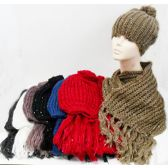 24 Units of Ladies' Hat and Scarf Set - Winter Sets Scarves , Hats & Gloves