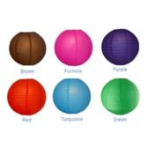 96 Units of 14IN ASSORTED DARK COLORS PAPER LANTERNS - Hanging Decorations & Cut Out