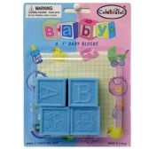 144 Units of BABY FAVOR BABY BLOCKS 4CT 1 INCH - Baby Shower