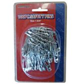 96 Units of 100PC SAFETY PINS IN DOUBLE CLAM SHELL - SAFETY PINS
