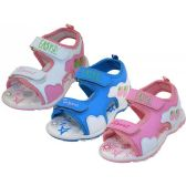 24 Units of Girl's Velcro Sport Sandals - Girls Sandals