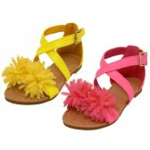 24 Units of Toddlers Silk Mesh Flower Top Cross Trap Sandals - Girls Sandals