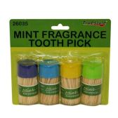 96 Units of 4PC MINT FRAGRANCE TOOTH PICKS - Toothpicks