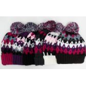 48 Units of Multi Color Ski Hat w. Pom Pom