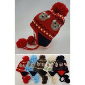 24 Units of Kid's Fleece-Lined Knit Cap with Ear Flap & PomPom [Bear] - Junior / Kids Winter Hats