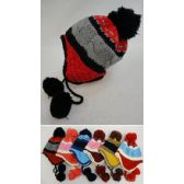 36 Units of Kid's Fleece-Lined Knit Cap with Ear Flap & PomPom [TriColor] - Fashion Winter Hats