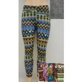 24 Units of Fleece-Lined Printed Leggings - Womens Leggings