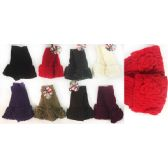 36 Units of Wholesale Knitted Flower Finger-less Texting Gloves - Conductive Texting Gloves