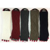 48 Units of Wholesale Cable Knitted Long Fingerless Gloves Assorted - Arm & Leg Warmers