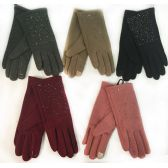 36 Units of Wholesale Winter Touch Gloves Rhinestone with Fleece Lining