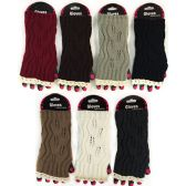 36 Units of Wholesale Knitted Fingerless Gloves with Lace - Knitted Stretch Gloves