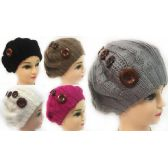 24 Units of Wholesale Knitted Lady's Winter Hats with Buttons Assorted - Fashion Winter Hats