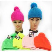 36 Units of Wholesale Knitted Neon Color Unisex Winter Pompom hats - Fashion Winter Hats