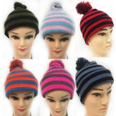 36 Units of Wholesale Knitted Unisex Kids Winter Pompom Hats Assorted - Junior / Kids Winter Hats