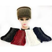 24 Units of Wholesale Knitted Solid Color Headband with Rhinestones Assorted - Headbands
