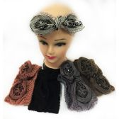 24 Units of Wholesale Knitted Headbands with Bendable Bow Alternate Color - Headbands
